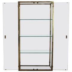 1970s French Brass Display Cabinet