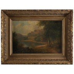 Antique English Landscape Oil Painting by W. A. Currie, RA, 19th Century