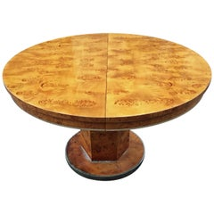 Jean-Claude Mahey, Table  in Walnut Burl Veneer and Gilt Brass