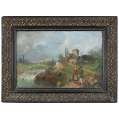 Antique Oil on Canvas Landscape Painting with Farm & Figures, 19th Century