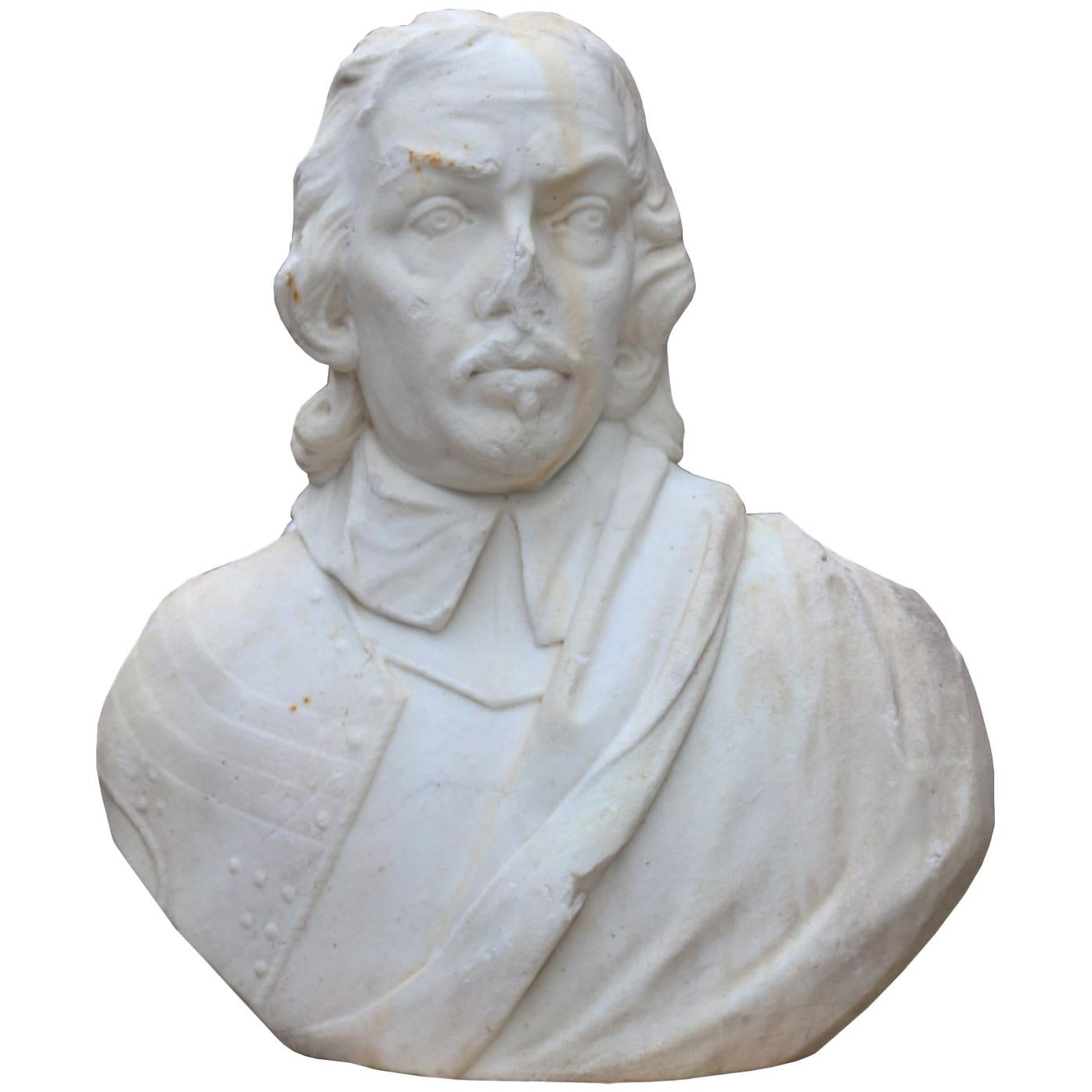 19th Century English Statuary Marble Bust of Oliver Cromwell