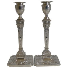 Antique English Sterling Silver Candlesticks  Adams Style, Ram's Heads, 1898