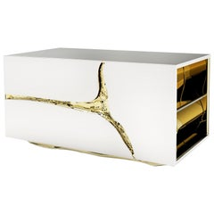 Paradise Nightstand or Side Table in Polished Stainless Steel