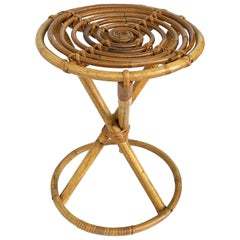 Stool Franco Albini for Vittorio Bonacina, Bamboo and Wicker, Italy, 1960s