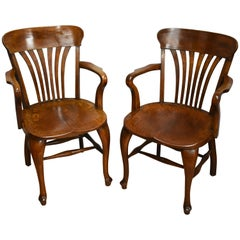 Pair of 20th Century Edwardian Solid Oak Desk Chairs