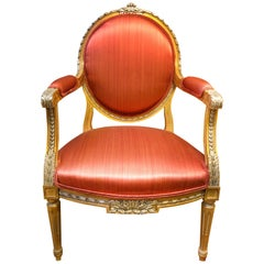 French Fauteuil Richly Decorated Pink Armchair in Louis XV Style