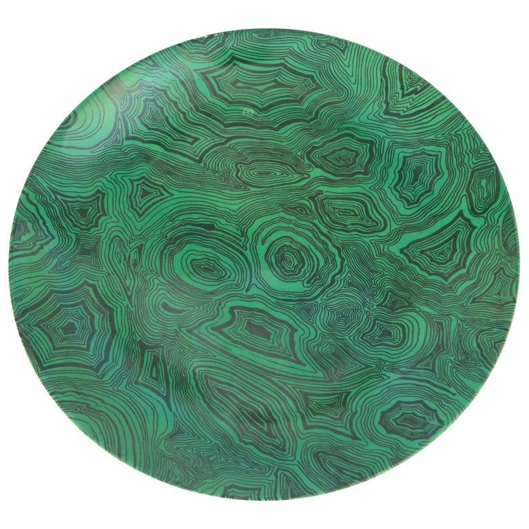 Vintage Piero Fornasetti Green Faux Malachite Plate, circa 1950 For Sale