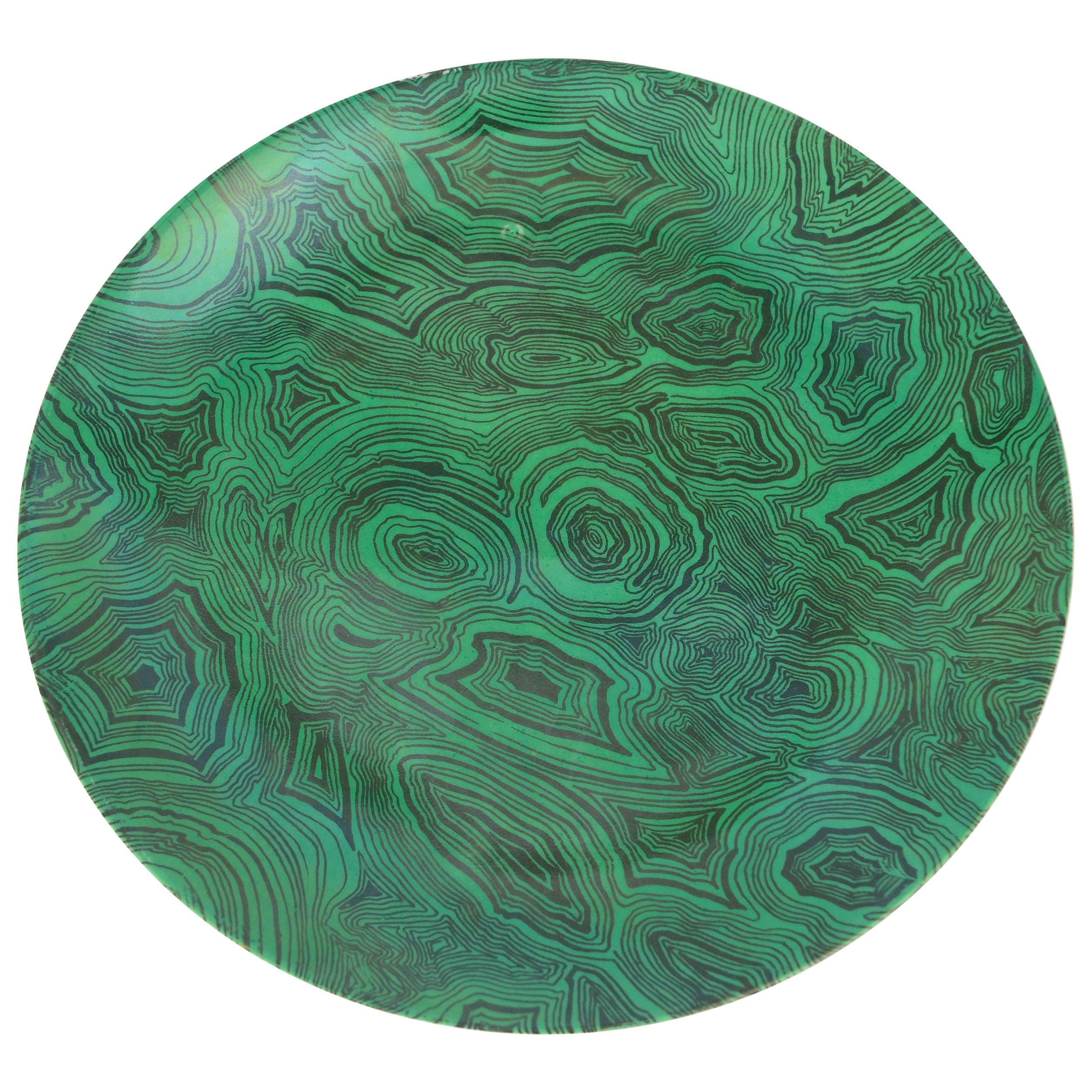 Vintage Piero Fornasetti Green Faux Malachite Plate, circa 1950