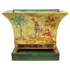 English Regency Style Celadon Chinoiserie Decorated Cachepot