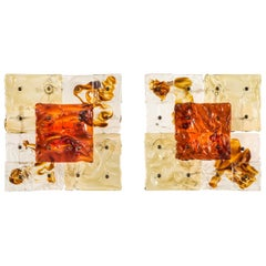 Toni Zuccheri for Venini, a Pair of Patchwork Sconces / Ceiling Lights