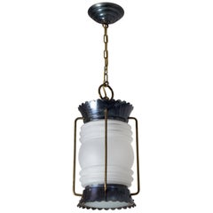 French Modern Brass and Satin Glass Lantern, 1950s