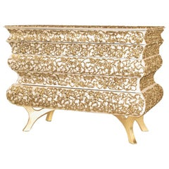 Vinci Chest of Drawers with Gold Leaf Painted on Brass Ornaments