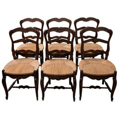 Set of 6 French Ladder Back Chairs c1920