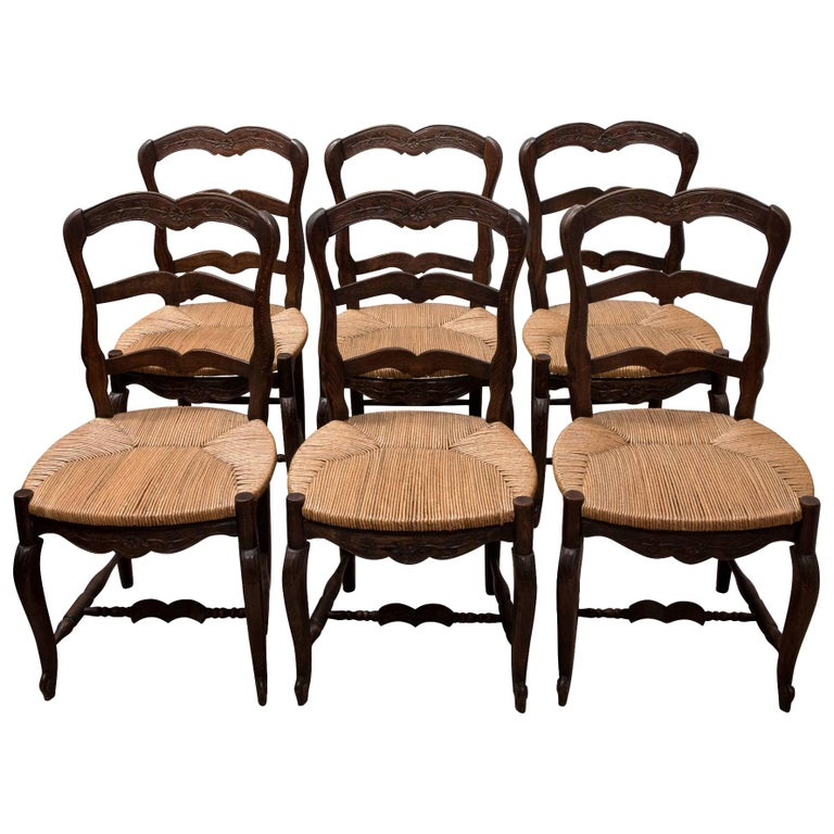 Set of 6 French Ladder Back Chairs c1920 For Sale