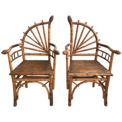 Decorative Pair of Antique Bamboo Chairs