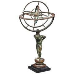 Continental Patinated Bronze Armillary Sphere, 19th Century