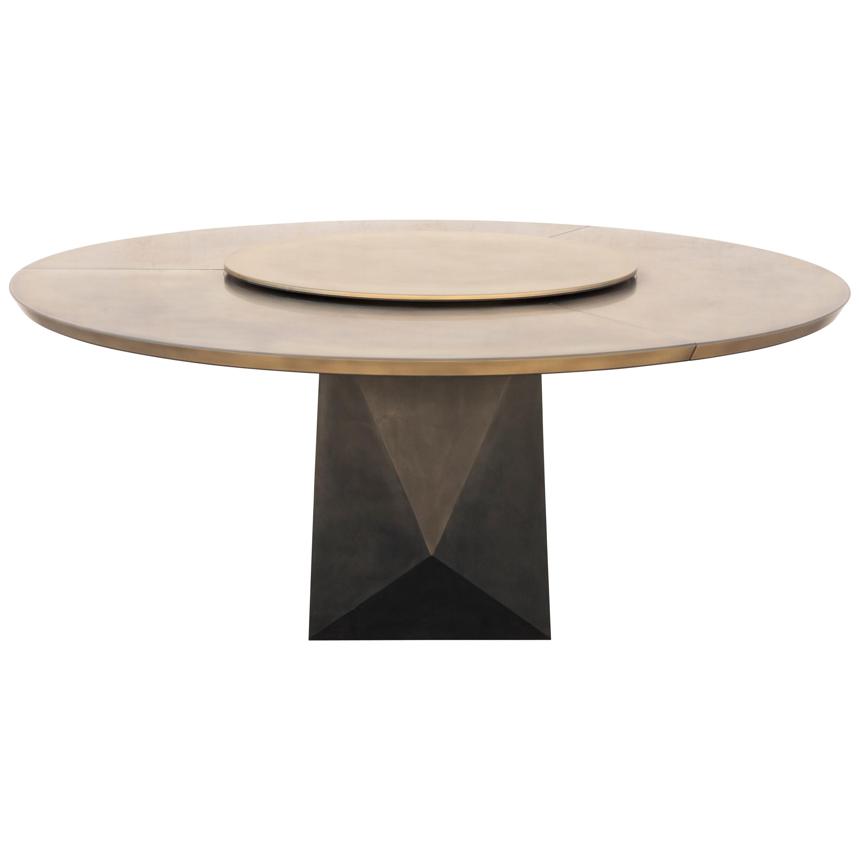 Prism Dining Table, Customizable Metal and Resin