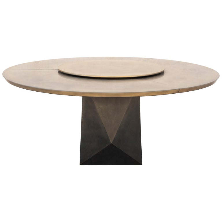 Prism Dining Table, Customizable Metal and Resin 1