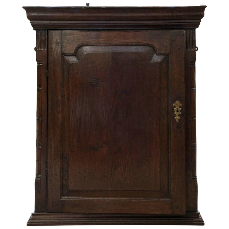 18th Century Welsh Oak Hanging Cupboard 1