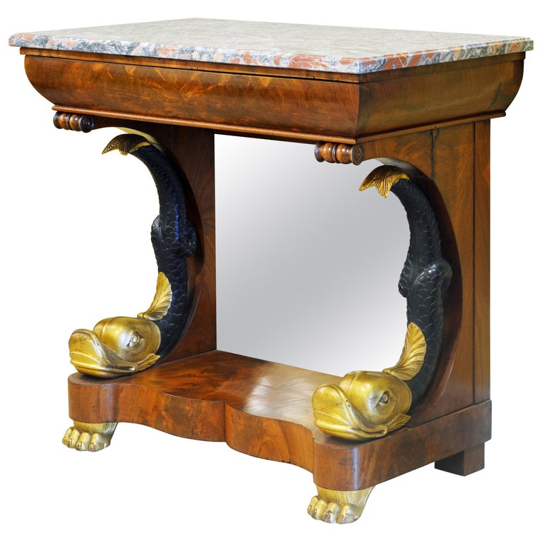Mid-19th Century English Carved and Parcel Gilt Marble Top Dolphin Console Table For Sale