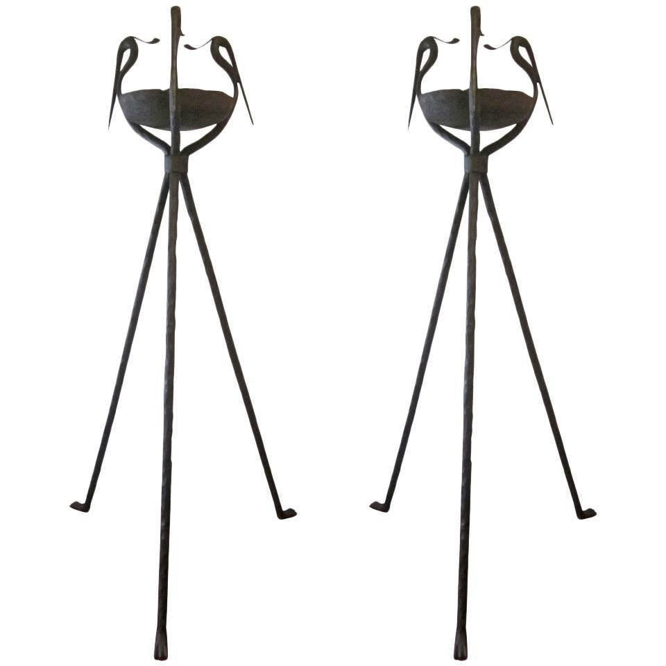 Pair French Modern Neoclassical Hammered Iron Torchiere / Floor Lamp, Poillerat