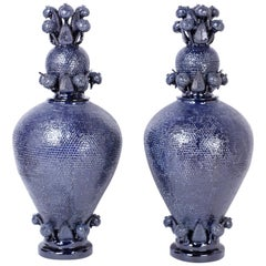 Giant Pair of Blue Glazed Terracotta or Pottery Lidded Urns