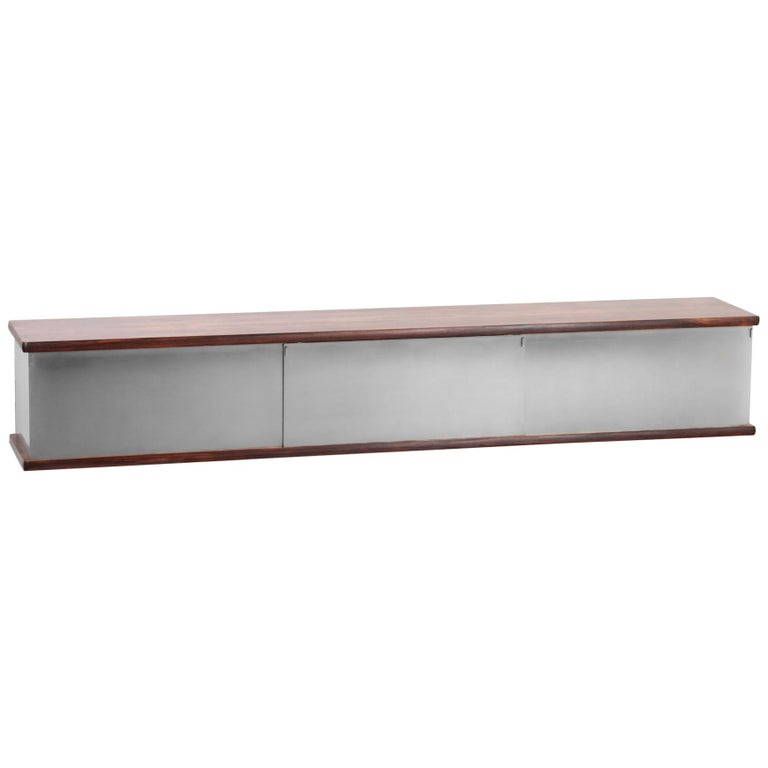 Large Wall Mounted Sideboard Attributed to Osvaldo Borsani For Sale