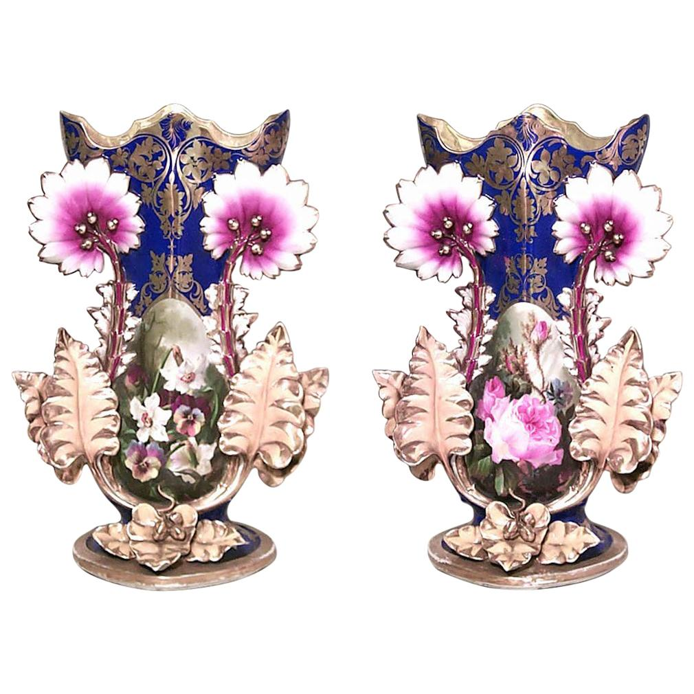 Pair of English Victorian Chelsea Porcelain Vases