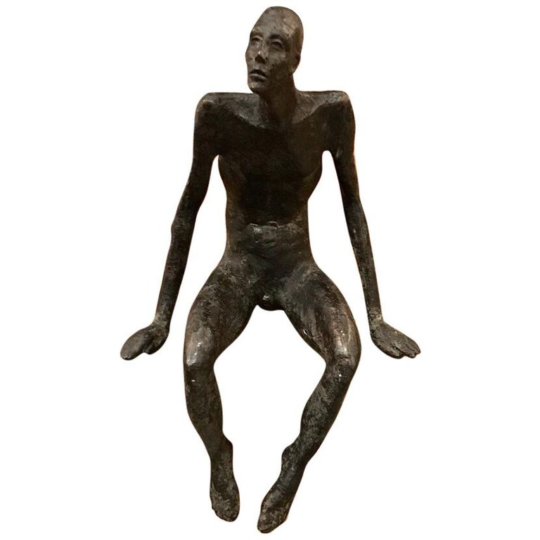 Bronze Seated Man Sculpture, Contemporary, German For Sale