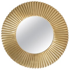 Mirror in Golden Aluminum Sun Starburst Sunburst, circa 1970s, Round Wall Mirror