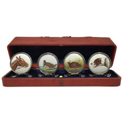 Sterling Silver Set of 4 Hand Painted Enamel Hunting Themes Place Card Holders