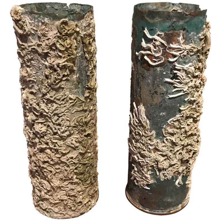 Barnacle Bronze Vases, Italy, 19th Century For Sale