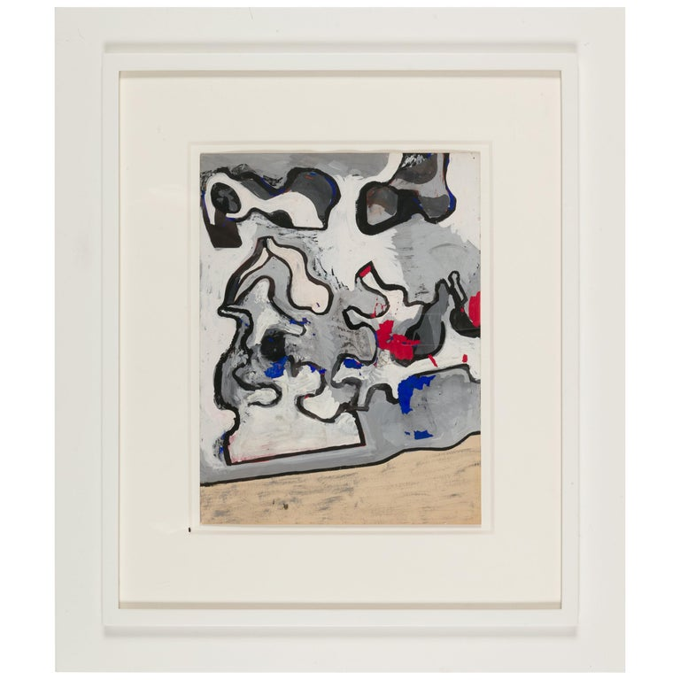 """Nell Blaine """"Untitled"""" Abstract Mixed-Media on Paper in Frame, USA, 1940s For Sale"""