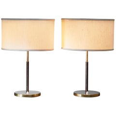 Table Lamp in Brass with Leather Covered Stem by J.T. Kalmar, Austria, 1960s