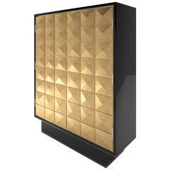 Cabinet with Diamond Pattern of Gold Leaf and Piano Lacquer