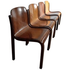 Italian Mid-Century Modern Curved Plywood Chairs by Carlo Bartoli