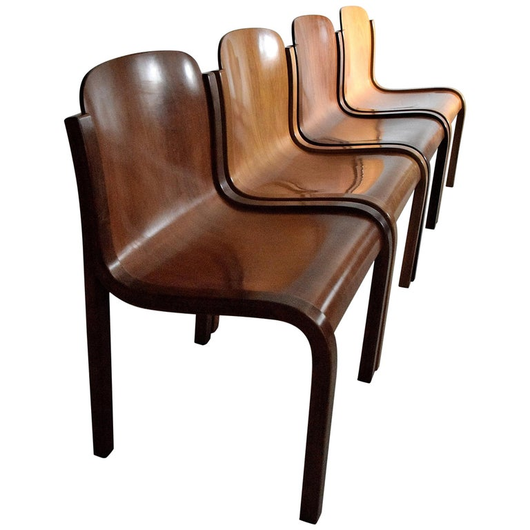 Italian Mid-Century Modern Curved Plywood Chairs by Carlo Bartoli For Sale