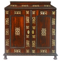 English Rosewood and Mother of Pearl Inlay Collector's Table Cabinet