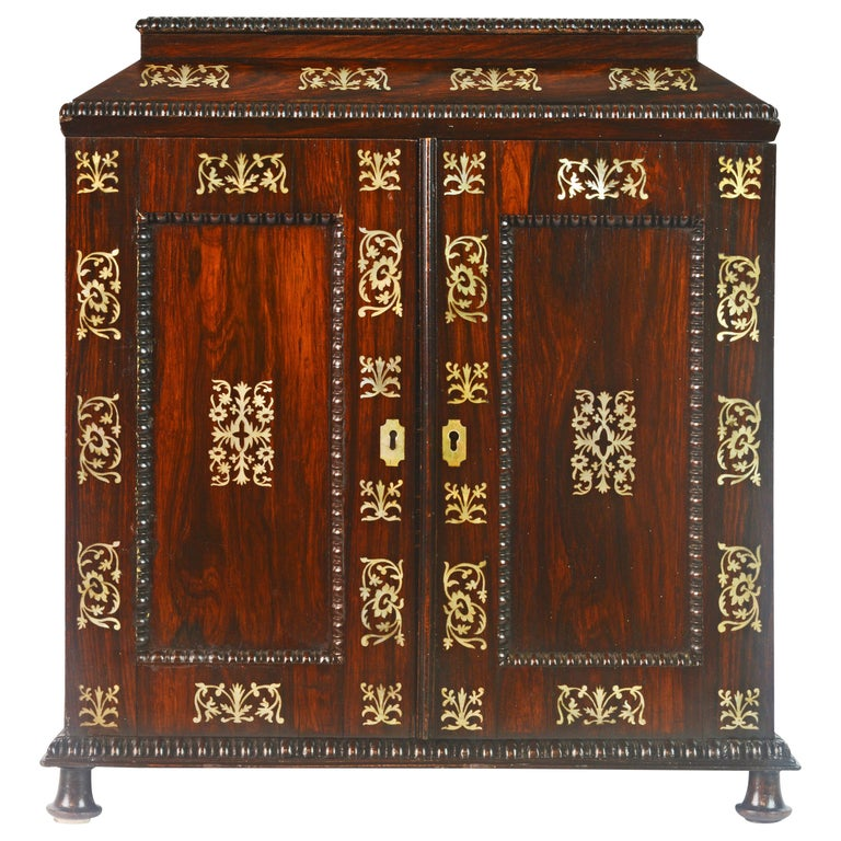 English Rosewood and Mother of Pearl Inlay Collector's Table Cabinet 1