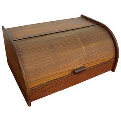 Mid-Century Modern Teak Tambour Roll-Top Storage Box