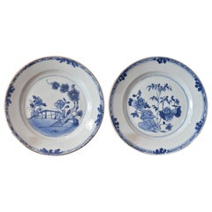 Pair of 18th Century Chinese Porcelain Blue & White Plates, Qing Qianlong