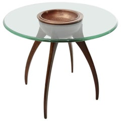 Italian Midcentury Coffee Table with Copper Cup, 1940s