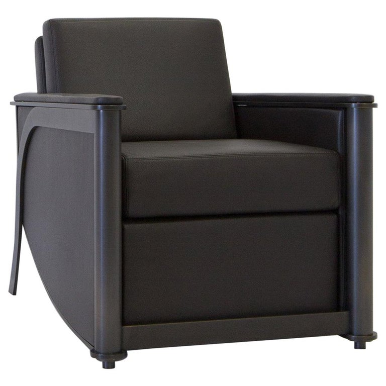 Constantine Club Chair with Leather Upholstered Back and Seat by Mark Zeff For Sale