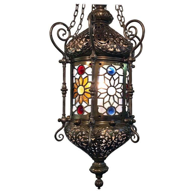 """19th Century """"Orientalist"""" Gasolier Lantern with Stained Glass Panels For Sale"""