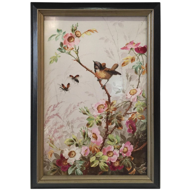 Charming Victorian Hand Painted Porcelain Tile of a Bird and Two Bees For Sale