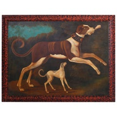 William Skilling Oil Painting on Canvas of Two Dogs