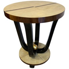 1930s French Art Deco Parchment and Walnut Side Table