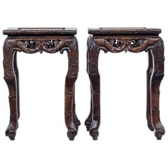 Pair of Late 19th Century Carved Chinese Tables