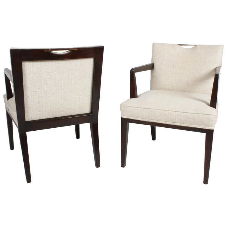 Pair of Edward Wormley for Dunbar Dining Chairs with Brass Handles  For Sale
