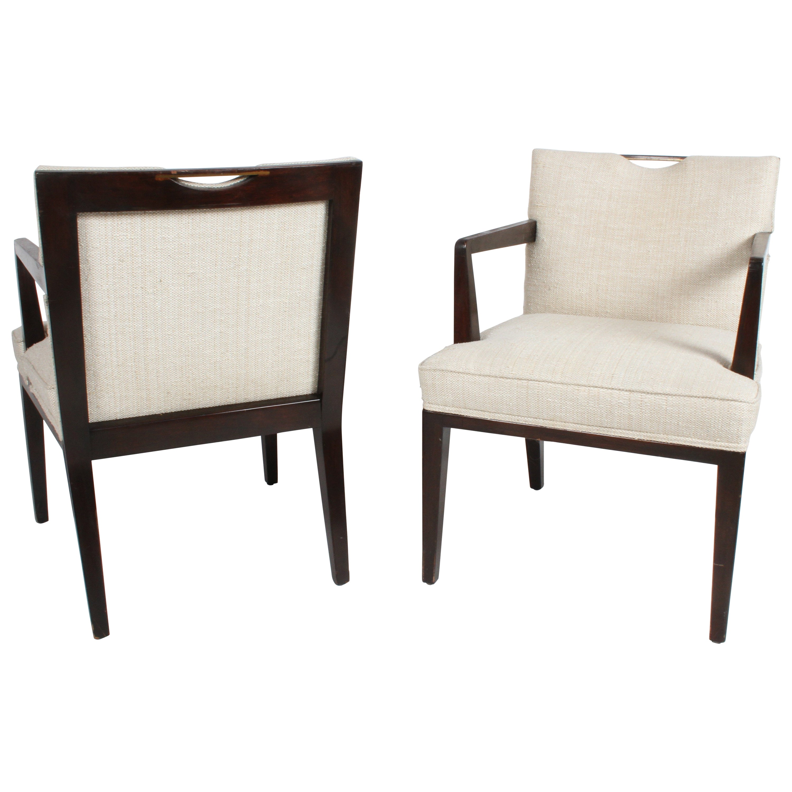 Pair of Edward Wormley for Dunbar Dining Chairs with Brass Handles